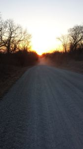 The Sun setting due west on the spring equinox as I prepare to cross into Story County.