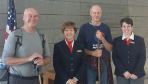 Steve and Ed with Josianne Rudd-Guillemette and Sandrine Paunet at the Normandy American Cemetery and Memorial