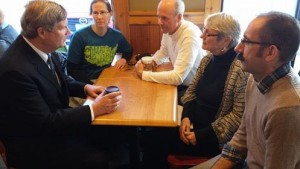 Climate Marchers Shari Hrdina, Ed Fallon, Miriam Kashia and Jeffrey Czerwiec meet with Tom Vilsack