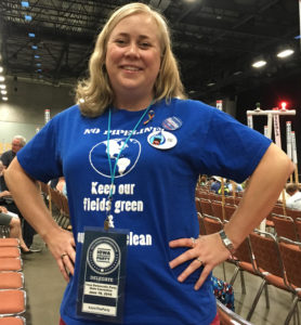 April Burch as a delegate at the Iowa Democratic Convention.