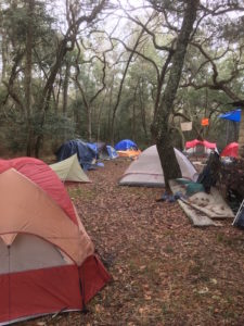 About 50 people stay at the Sacred Water Camp opposing the Sabal Trail pipeline.